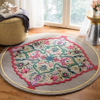 Safavieh Bellagio Hand-Woven Wool Dark Grey / Multi Area Rug (5' Round)