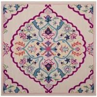 Safavieh Bellagio Handmade Boho Medallion Light Pink/ Multi Wool Rug - 5' x 5' square