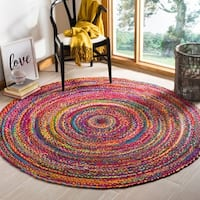 Safavieh Braided Hand-Woven Cotton Red / Multi Area Rug - 5' Round
