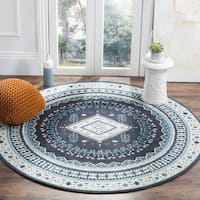 Safavieh Classic Southwestern Bohemian Navy/ Light Blue Cotton Rug - 6' Round