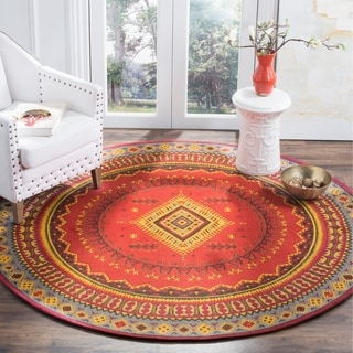 Safavieh Classic Vintage Red / Slate Cotton Rug (6' Round)