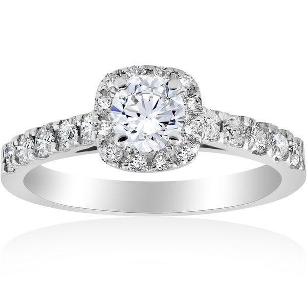14k White Gold 1 ct TDW Diamond Halo Engagement Ring 14K White Gold