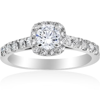 14k White Gold 1 ct TDW Diamond Cushion Halo Engagement Ring 14K White Gold