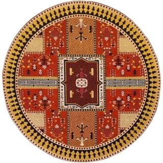 Safavieh Classic Vintage Boho Tomasa Oriental Cotton Rug (6 x 6 Round - Orange/Gold)