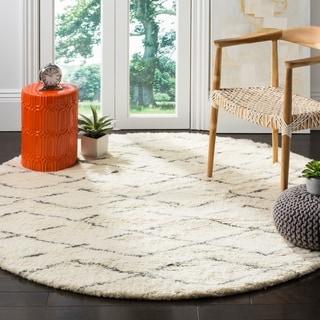 Safavieh Hand-Woven Casablanca Ivory / Grey New Zealand Wool Rug (6' Round)