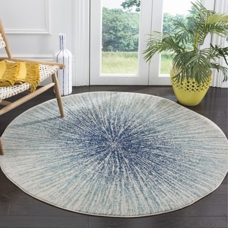 Safavieh Evoke Vintage Abstract Burst Royal Blue/ Ivory Distressed Rug (9' Round)