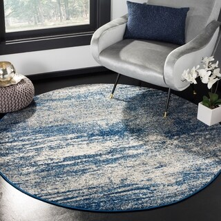 Safavieh Evoke Vintage Modern Abstract Navy / Ivory Distressed Rug (5' 1 Round)