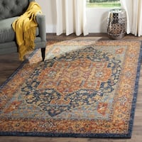 "Safavieh Evoke Vintage Medallion Blue/ Orange Distressed Rug - 6'7"" x 6'7"" square"