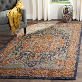 Safavieh Evoke Vintage Medallion Blue/ Orange Distressed Rug (6'7 Square)