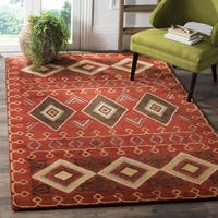 Safavieh Heritage Hand-Woven Wool Red / Multi Area Rug - 6' Square