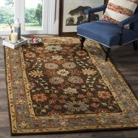 Safavieh Heritage Hand-Woven Wool Charcoal / Blue Area Rug (6' Square) - 6' x 6'