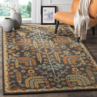 Safavieh Heritage Hand-Woven Wool Charcoal / Multi Area Rug (6' Square)