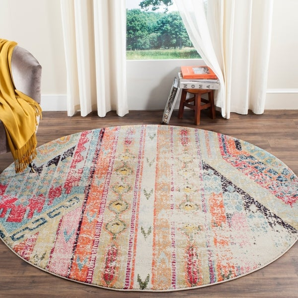 Safavieh Monaco Vintage Boho Multicolored Distressed Rug - 4' Round