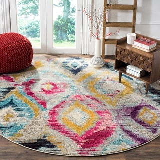 Safavieh Monaco Bohemian Vibrant Watercolor Rainbow Distressed Rug (6' 7 Round)