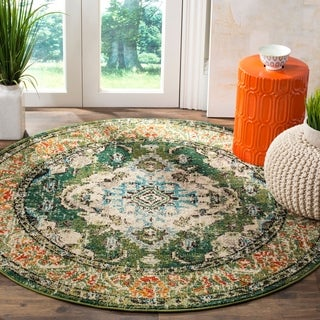 Safavieh Monaco Bohemian Medallion Forest Green/ Light Blue Distressed Rug (5' Round)