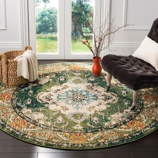Safavieh Monaco Bohemian Medallion Forest Green/ Light Blue Distressed Rug (6' 7 Round)