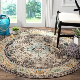 Safavieh Monaco Bohemian Medallion Grey / Light Blue Distressed Rug (5' Round)