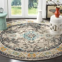 Safavieh Monaco Bohemian Medallion Grey / Light Blue Distressed Rug - 6' 7 Round