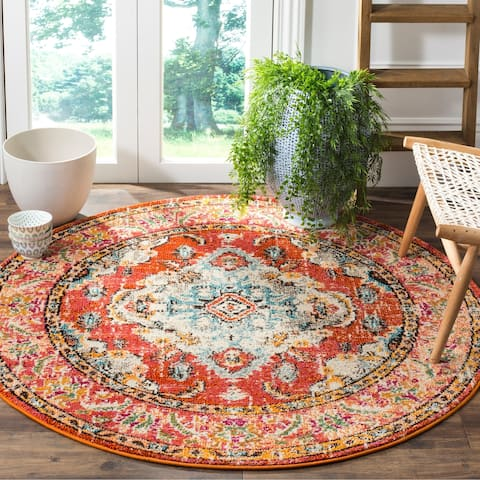 Safavieh Monaco Amelie Vintage Medallion Orange/ Light Blue Rug - 5' x 5' Round
