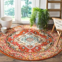 Safavieh Monaco Vintage Boho Medallion Orange/ Light Blue Rug - 5' x 5' round