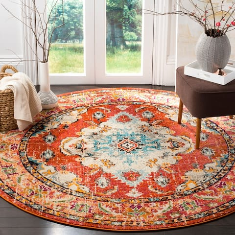 "Safavieh Monaco Amelie Vintage Medallion Orange/ Light Blue Rug - 6'7"" x 6'7"" Round"