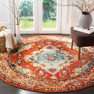 Safavieh Monaco Bohemian Medallion Orange/ Light Blue Distressed Rug (6' 7 Round)