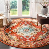 Safavieh Monaco Bohemian Medallion Orange/ Light Blue Distressed Rug - 6' 7 Round