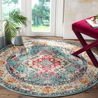 Safavieh Monaco Bohemian Medallion Light Blue/ Fuchsia Distressed Rug (5' Round)