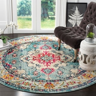Safavieh Monaco Bohemian Medallion Light Blue/ Fuchsia Distressed Rug - 6' 7 Round