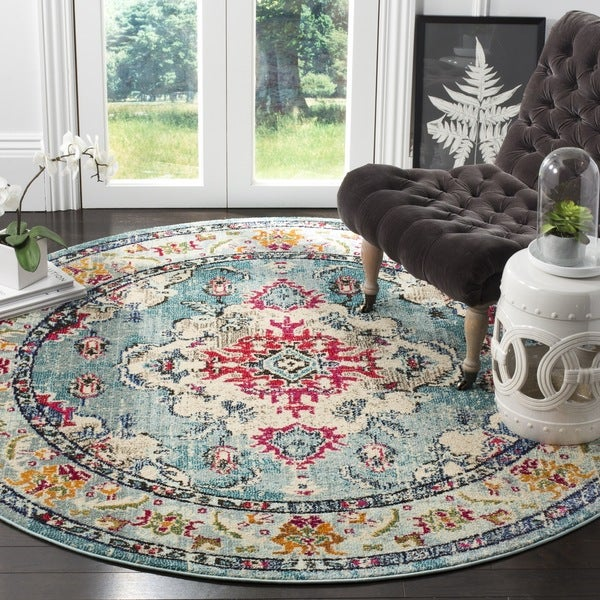 Safavieh Monaco Bohemian Medallion Light Blue Fuchsia Distressed Rug 6 X27 7