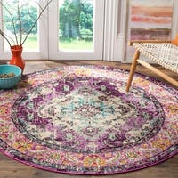 Safavieh Monaco Bohemian Medallion Violet/ Light Blue Distressed Rug - 5' Round