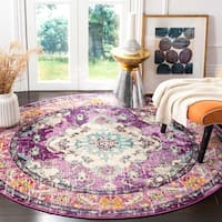 Safavieh Monaco Bohemian Medallion Violet/ Light Blue Distressed Rug - 6' 7 Round