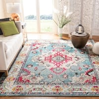 Safavieh Monaco Bohemian Medallion Navy / Light Blue Distressed Rug (5' Round)