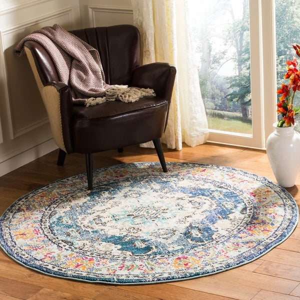 Safavieh Monaco Bohemian Medallion Navy / Light Blue Distressed Rug - 5' Round