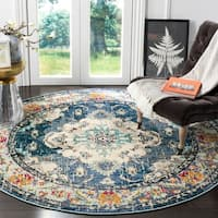 "Safavieh Monaco Amelie Vintage Medallion Navy / Light Blue Rug - 6'7"" x 6'7"" Round"