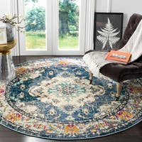 "Safavieh Monaco Vintage Boho Medallion Navy / Light Blue Round Rug - 6'7"" x 6'7"" round"