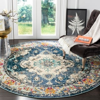 Safavieh Monaco Bohemian Medallion Navy / Light Blue Distressed Rug - 6' 7 Round