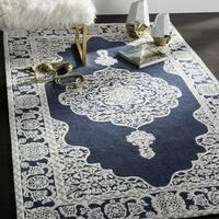 Safavieh Hand-Woven Marbella Flatweave Dark Blue / Ivory Chenille Rug - 6' x 6' Square