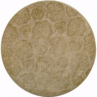 Martha Stewart by Safavieh Geranium Leaf Hazelnut/ Gold Wool/ Viscose Area Rug - 6' Round