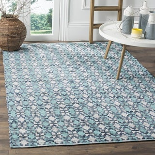 Safavieh Hand-Woven Montauk Flatweave Turquoise / Multicolored Cotton Rug (4' Square)