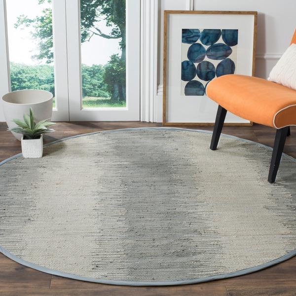 Safavieh Hand-Woven Montauk Flatweave Grey Cotton Rug - 6' Round