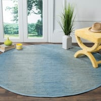 Safavieh Hand-Woven Montauk Flatweave Light Blue Cotton Rug - 6' x 6' Round