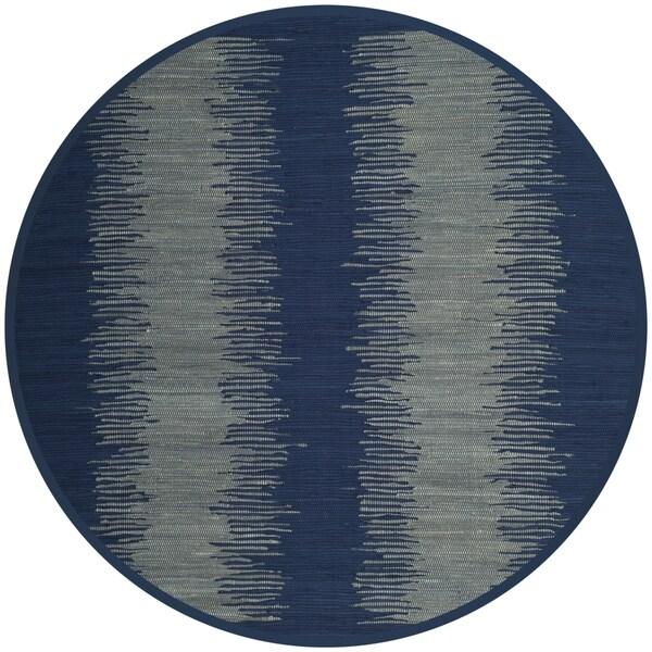 Safavieh Hand-Woven Montauk Flatweave Navy Cotton Rug (6' Round)