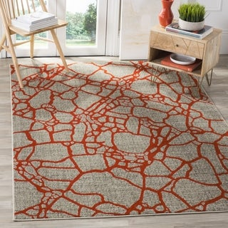 Safavieh Porcello Modern Abstract Light Grey/ Orange Rug (6'7 Square)