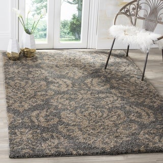 Safavieh Shag Grey / Beige Area Rug (5' Square)