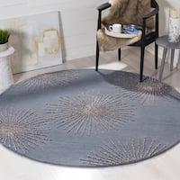 Safavieh SoHo Hand-Woven Wool Dark Grey / Silver Area Rug - 6' Round