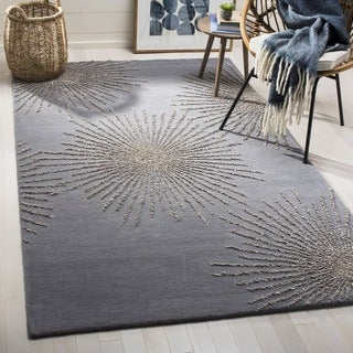 Safavieh SoHo Hand-Woven Wool Dark Grey / Silver Area Rug (6' Square)