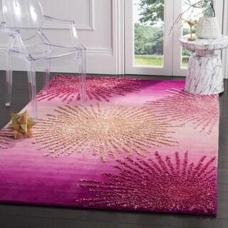Safavieh SoHo Hand-Woven Wool Pink Area Rug (6' Square)