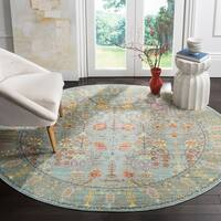 "Safavieh Valencia Traditional Distressed Silky Polyester Rug - 6'7"" x 6'7"" round"