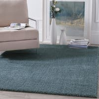 Safavieh Velvet Light Blue Polyester Shag Rug (6' 7 Square)